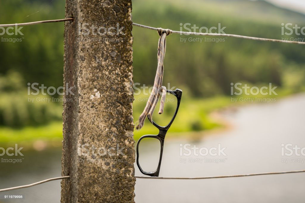 Glases frame on a fence stock photo