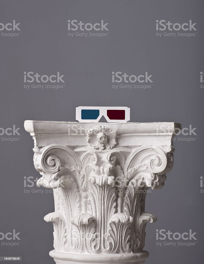 3D glases on a corinthian capital stock photo
