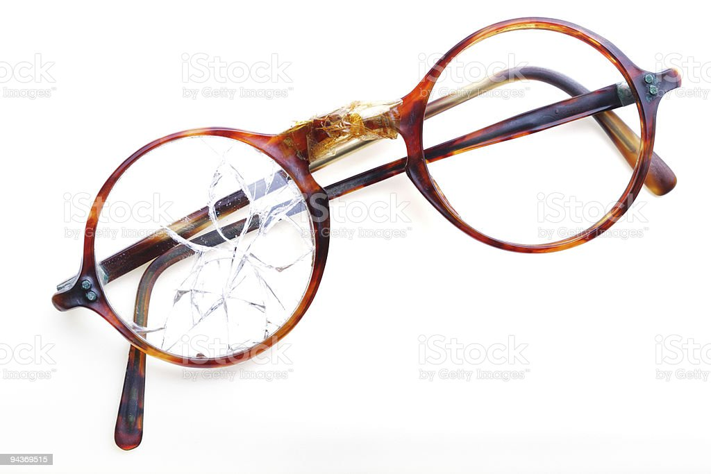 glases with broken glass stock photo