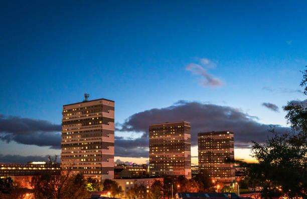 Glasgow apartment blocks at dusk stock photo