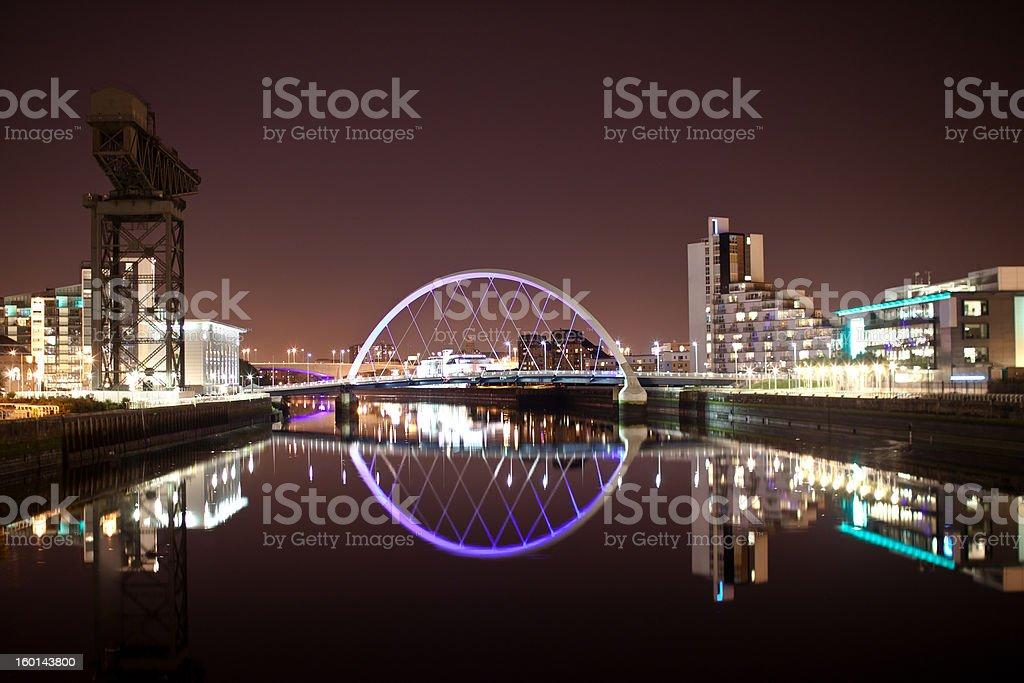 Glasgow Arc 'Squinty' Bridge by Night stock photo