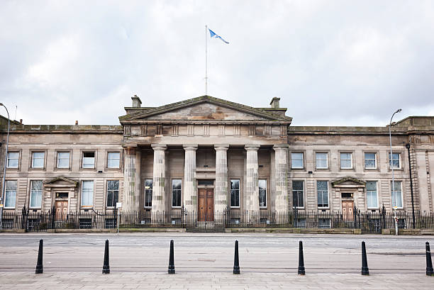 Glasgow High Court of Justiciary Looking from Glasgow Green to the High Court of Justiciary - Scotland's supreme criminal court. theasis stock pictures, royalty-free photos & images