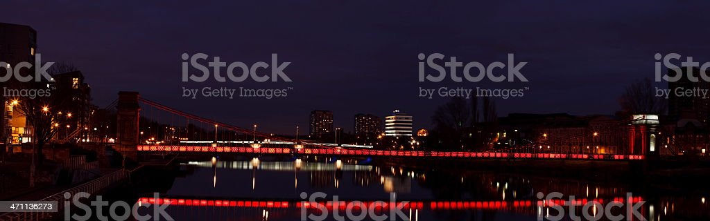 Glasgow red suspension bridge royalty-free stock photo
