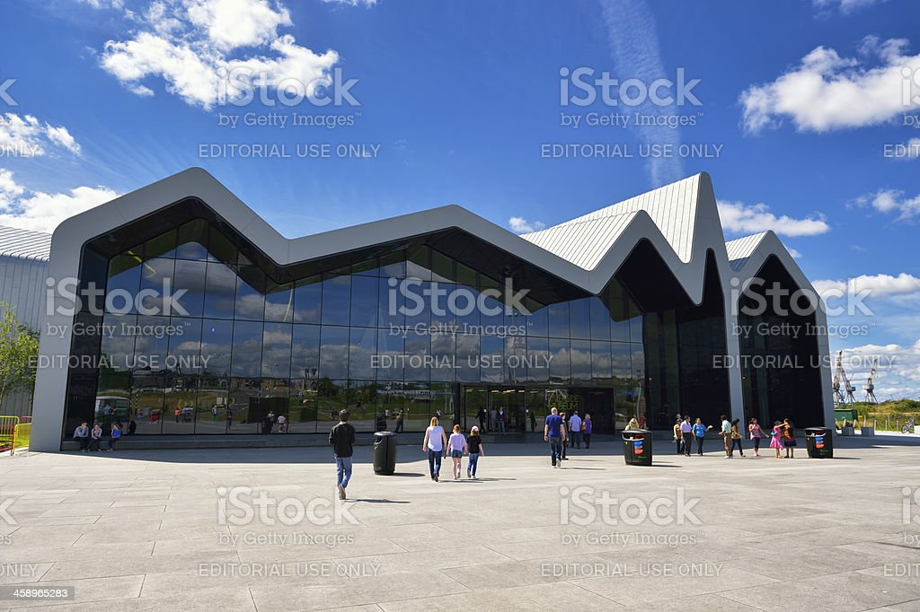 Glasgow riverside transport museum on a bright sunny day stock photo
