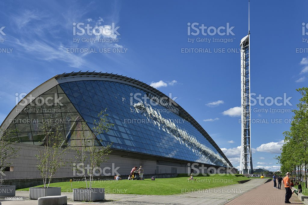 Glasgow science centre on a bright sunny day stock photo