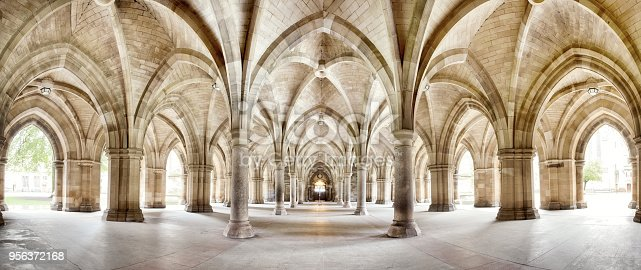 The historic Cloisters of Glasgow University. Panorama of the exterior walkway. Image taken from a public position.