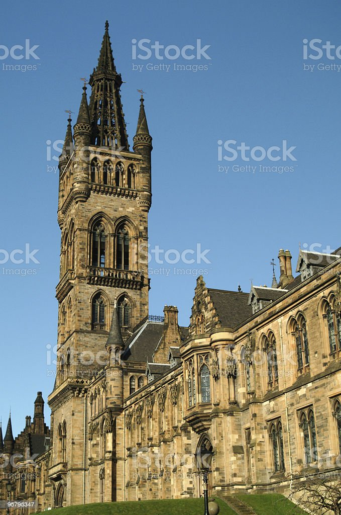 Glasgow University Tower in Summer stock photo