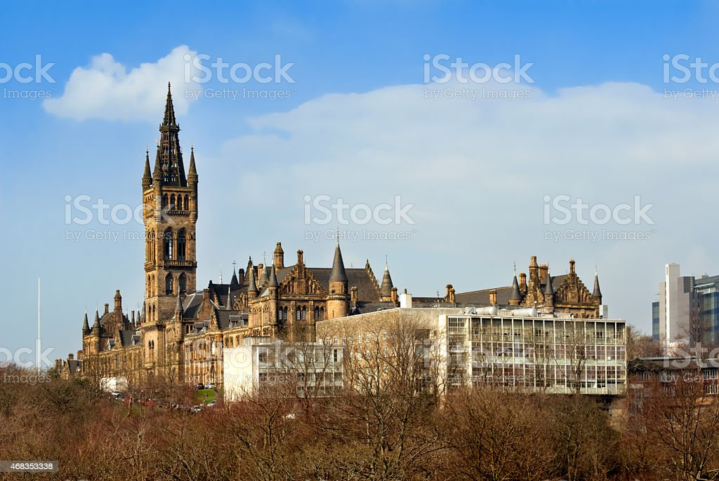 Glasgow University with the modern School of engineering building royalty-free stock photo