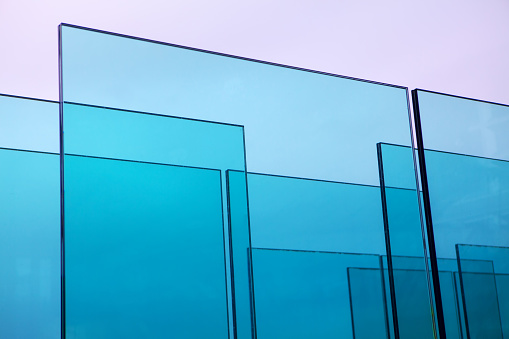 abstract composition made by transparent glass