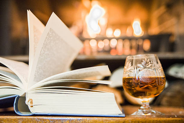 glass alcoholic drink and  book in front of warm fireplace - grillbuch stock-fotos und bilder