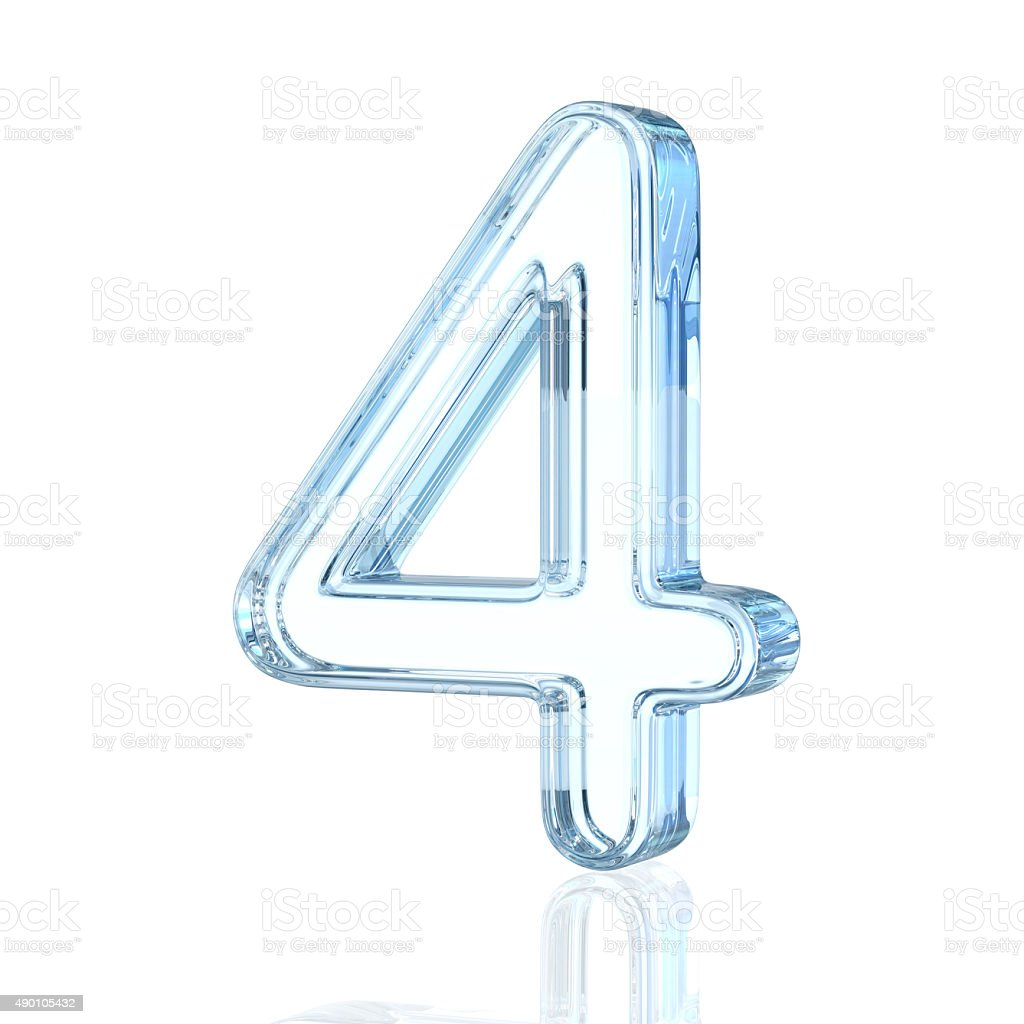Glass Alphabet Number 4 stock photo