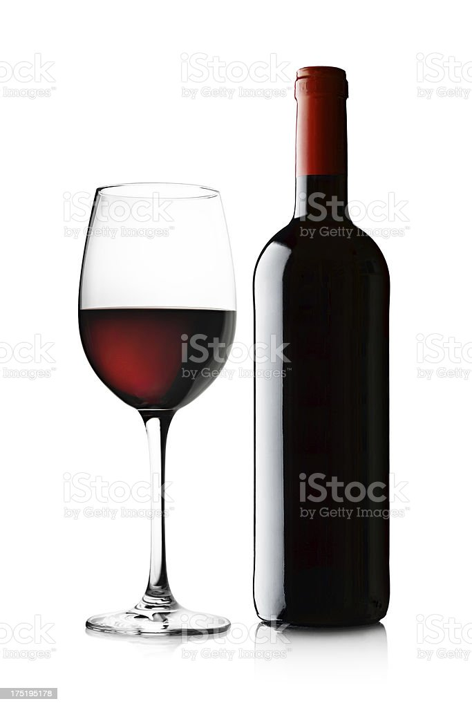 Glass and Bottle of Red Wine on White royalty-free stock photo