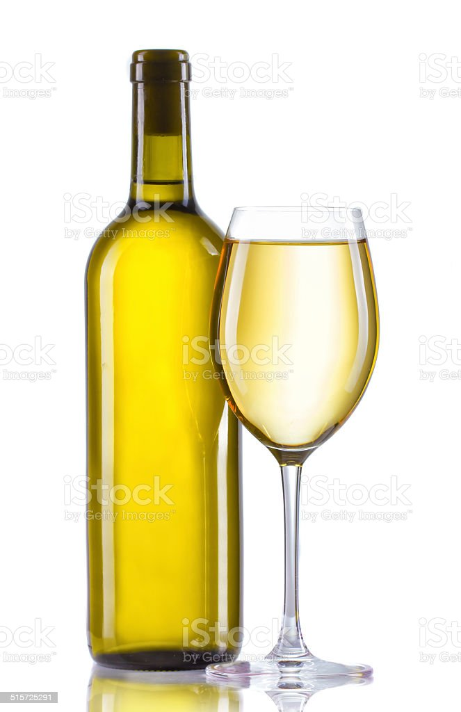 Glass and bottle of white wine isolated on white stock photo