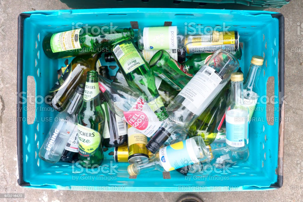Glass and Bottle Recycling stock photo