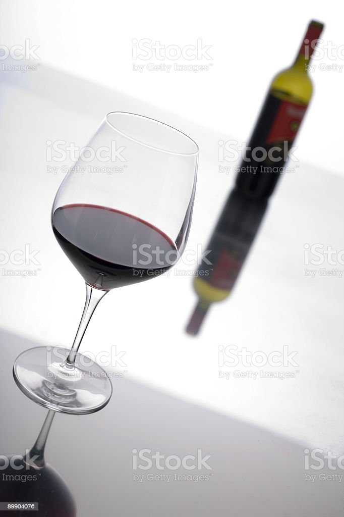 Glass and Bottle: Wine. royalty-free stock photo