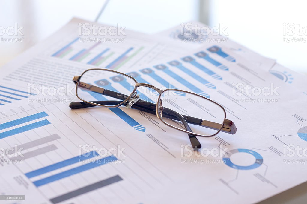 Glass and Charts stock photo