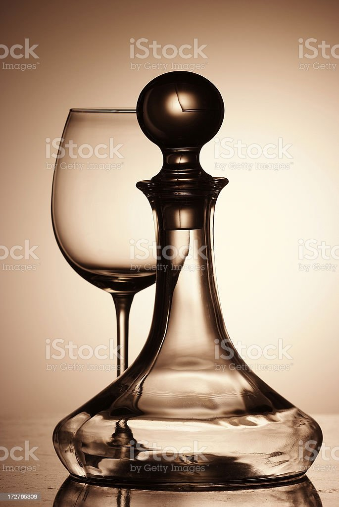Glass and decanter wine bottle royalty-free stock photo