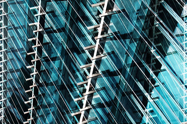 Glass and metal. Abstract contemporary architecture in shades of blue - foto stock