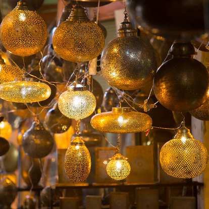 994119256 istock photo Glass and metal lanterns lamps from Morocco 515840319