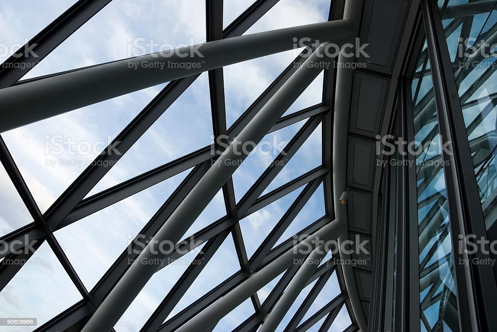 Glass and steel architectural abstract stock photo