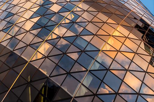 The Gherkin Building in downtown London, UK
