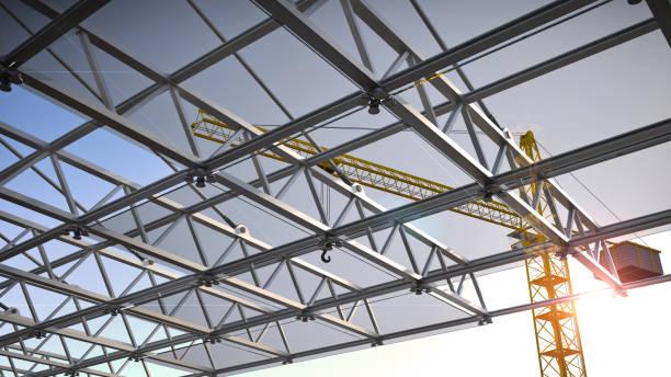 玻璃和鋼結構, 3d 插圖 - 鋼鐵 個照片及圖片檔