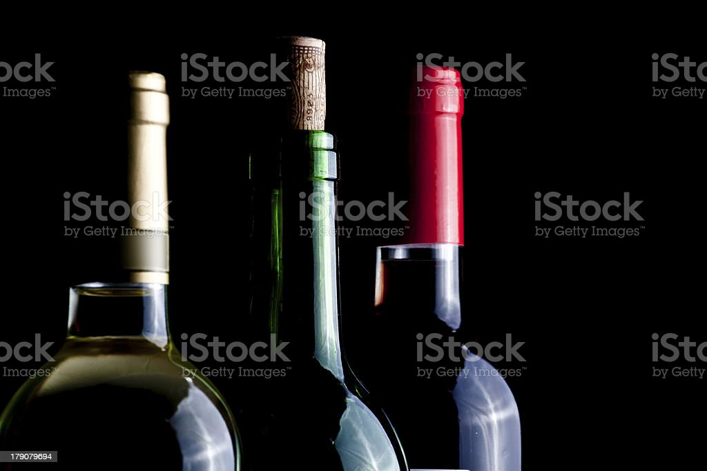 Glass and wine bottle royalty-free stock photo