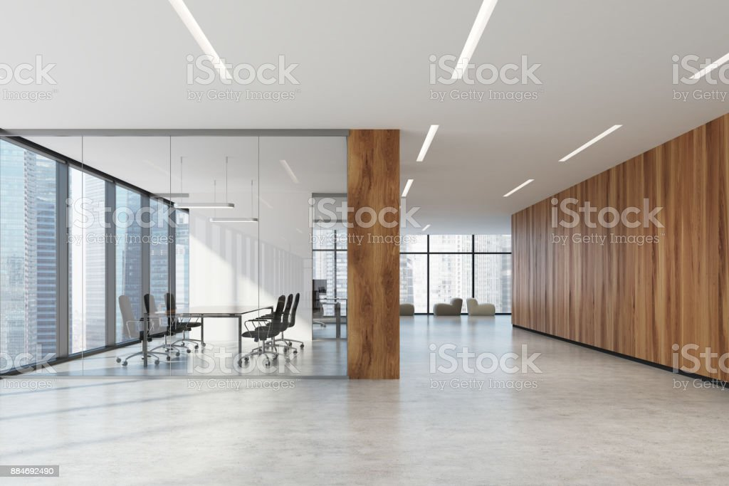 Glass And Wooden Office Meeting Room Armchairs Stock Photo Download Image Now Istock