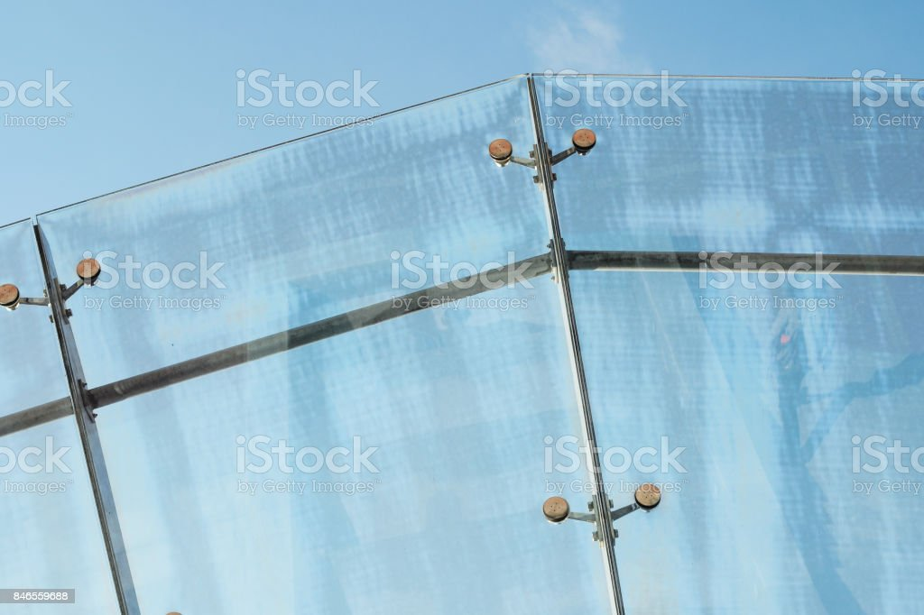 Glass anopy Fastening Elements stock photo