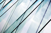Glass architecture. Double-exposure tilt photo of contemporary office building facade.