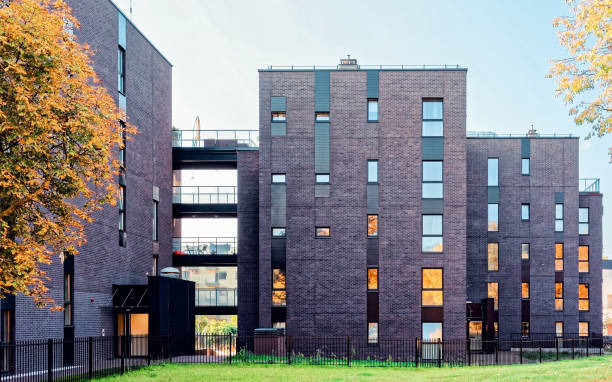 EU Glass architecture of modern residential apartment building stock photo