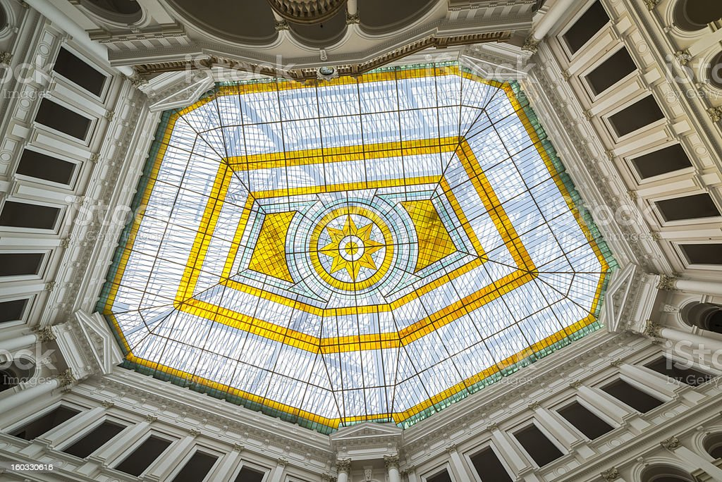 Glass atrium on the roof of Warsaw Polytechnic in Poland royalty-free stock photo