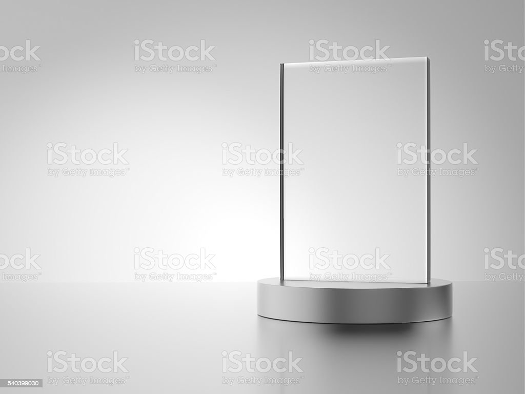 Glass award with metal base stock photo