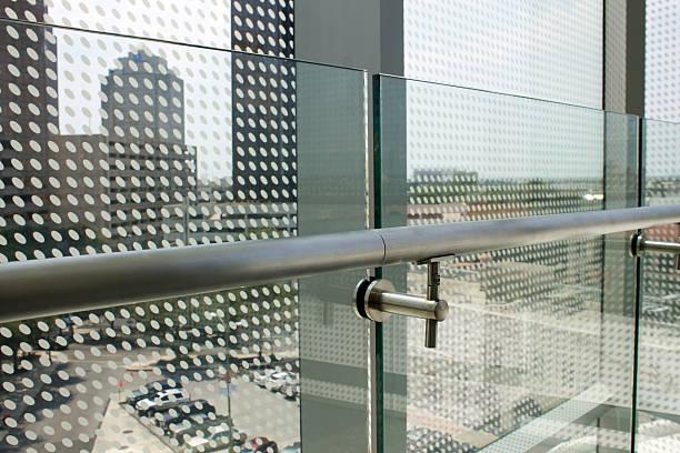 Glass Balcony with Metal Railing stock photo