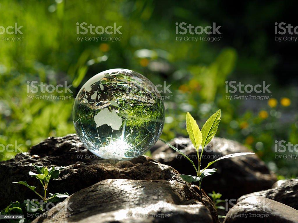Bola de cristal en las rocas foto de stock libre de derechos