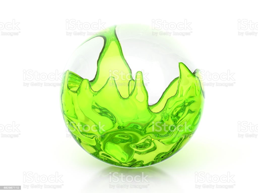 Glass ball with green liquid foto de stock royalty-free
