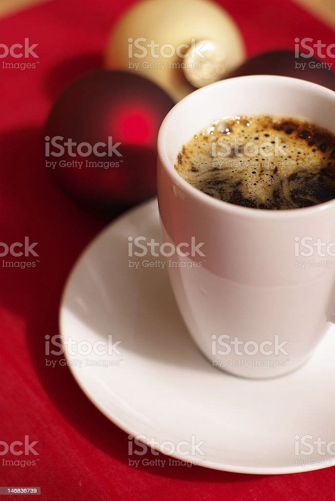 glass balls and cup of strong coffee royalty-free stock photo