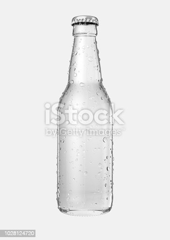 A clear glass beer bottle with droplets of condensation on an isolated white studio background - 3D render