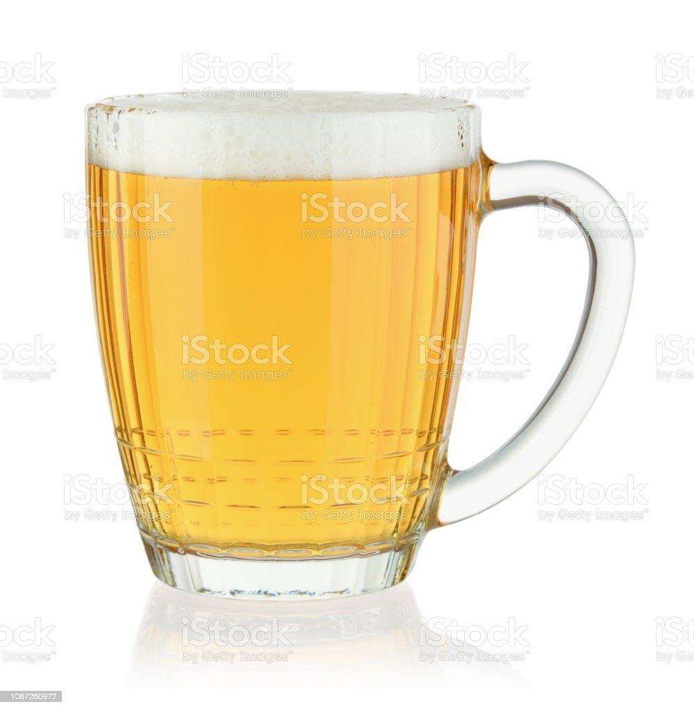 Glass beer mug isolated on white stock photo