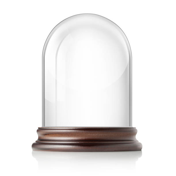 Glass bell jar on white background stock photo