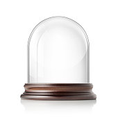 Glass bell jar on white background.