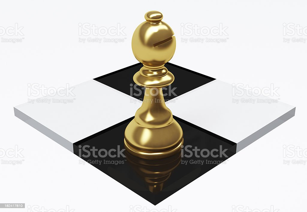 3D Glass Bishop piece on Chessboard royalty-free stock photo