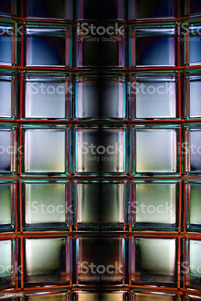 Glass Block Wall In Expressive Lighting. Contemporary Minimalism  Architecture. Royalty Free Stock Photo