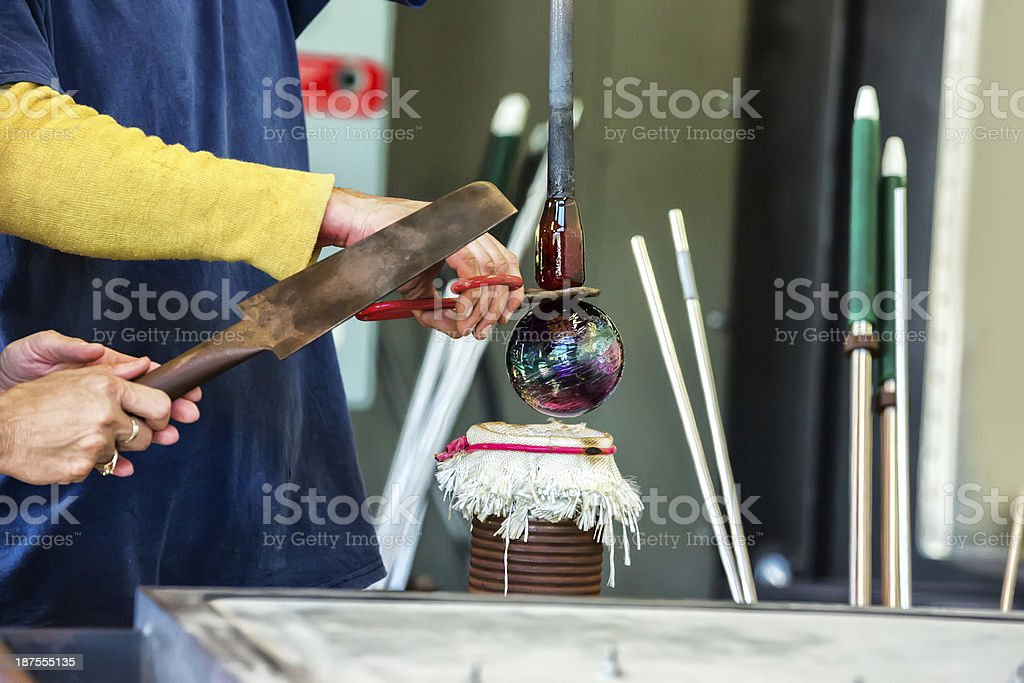 Glass blower making Christmas ornament royalty-free stock photo