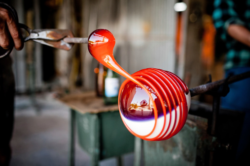 Glass Blowing In Factory Stock Photo - Download Image Now