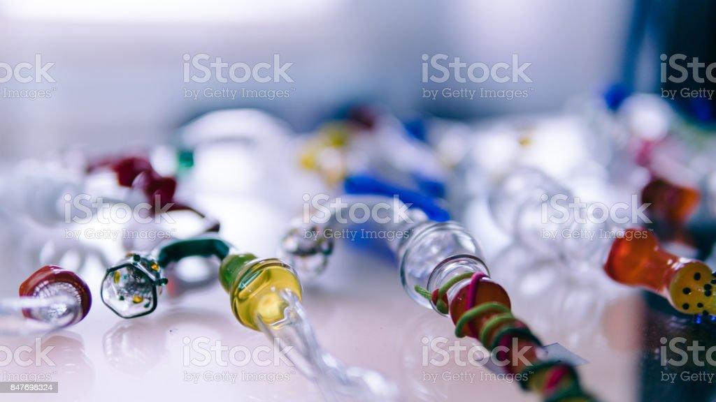 glass bongs for smoking weed close-up soft focus. smoking accessories marijuana stock photo