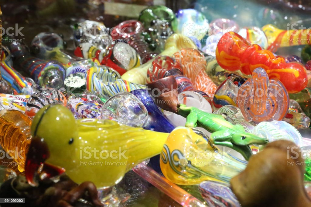 glass bongs stock photo