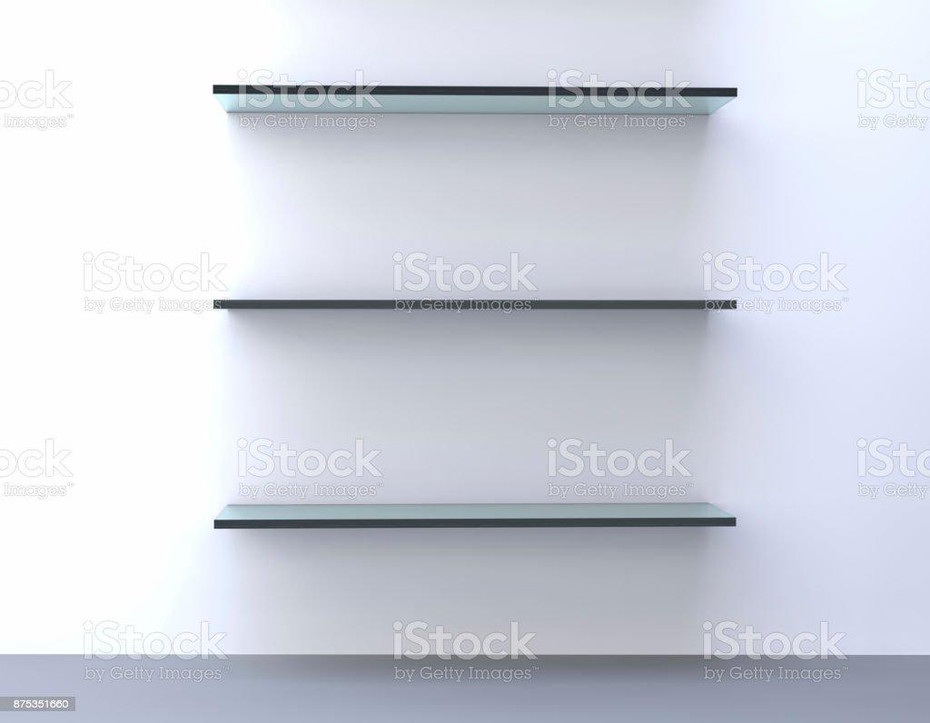 glass bookshelf - shelves stock photo