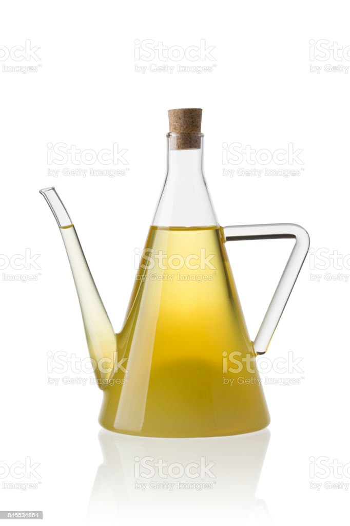 Glass botle with palm oil stock photo