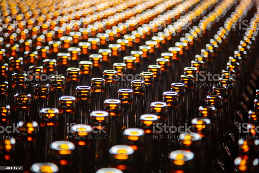 Glass bottle texture. Glass bottle at factory for production of glass...